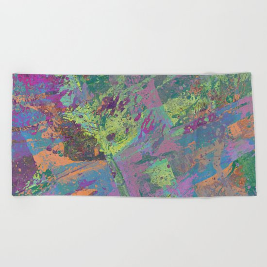Abstract Thoughts 2 - Textured, painting Beach Towel