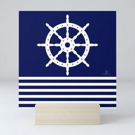 AFE Navy & White Helm Wheel Mini Art Print