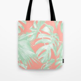 Island Love Coral Pink + Light Green Tote Bag