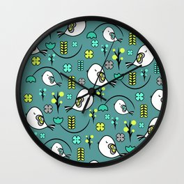 Cute birds and flowers Wall Clock