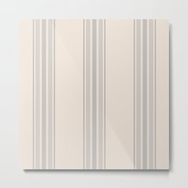 Simple Farmhouse Stripes in Gray on Beige Metal Print
