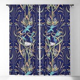 Art Nouveau Dragonflies | Navy Blackout Curtain