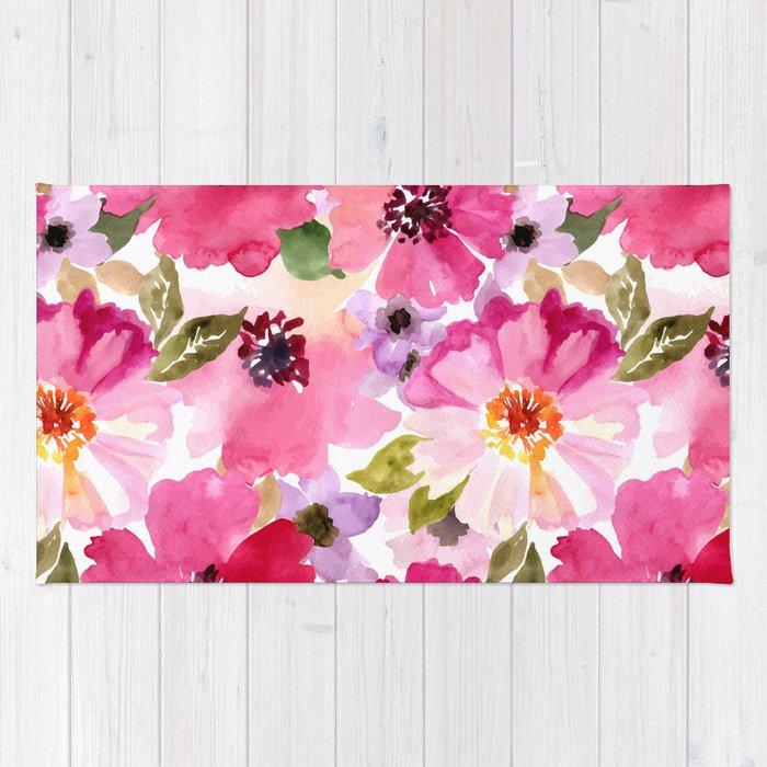 Watercolor Flowers Pink Fuchsia Rug By Junkydotcom