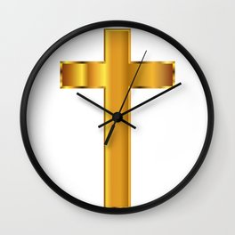 Golden Christian Crucifix Wall Clock