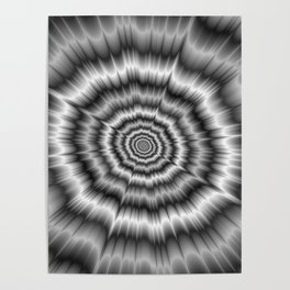 Explosion in Black and White Poster