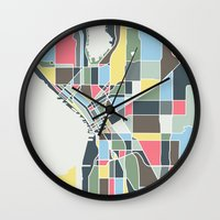 seattle Wall Clocks featuring Seattle. by Studio Tesouro