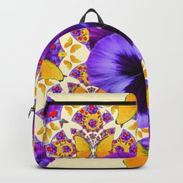 RED PURPLE PANSIES & GOLD  BUTTERFLIES ART Backpack