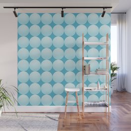 Mid-century Modern Abstract Minimal Geometric Snow Textured Snowballs Pattern in White and Blue Wall Mural