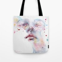 peony Tote Bags featuring peony by agnes-cecile