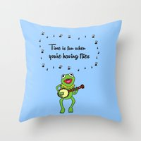 kermit Throw Pillows featuring Kermit having fun by BlackBlizzard