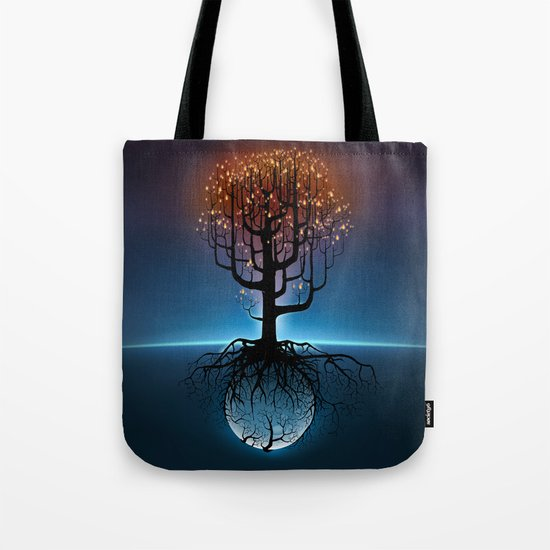 Tree, Candles, and the Moon Tote Bag