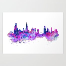 Chicago Watercolor Skyline 2 Art Print