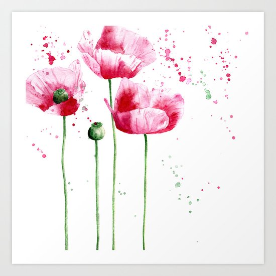 Expressive poppies || watercolor Art Print