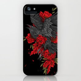 Raven with flowers iPhone Case