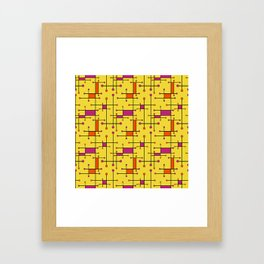 Intersecting Lines in Orange, Hot Pink on Yellow Framed Art Print