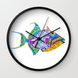 Tropical Trigger Fish - Colorful Beach Art - Sharon Cummings Wall Clock
