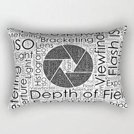 Photography Terms  Word Cloud Lens Shutter Rectangular Pillow