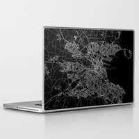 dublin Laptop & iPad Skins featuring Dublin map by Line Line Lines