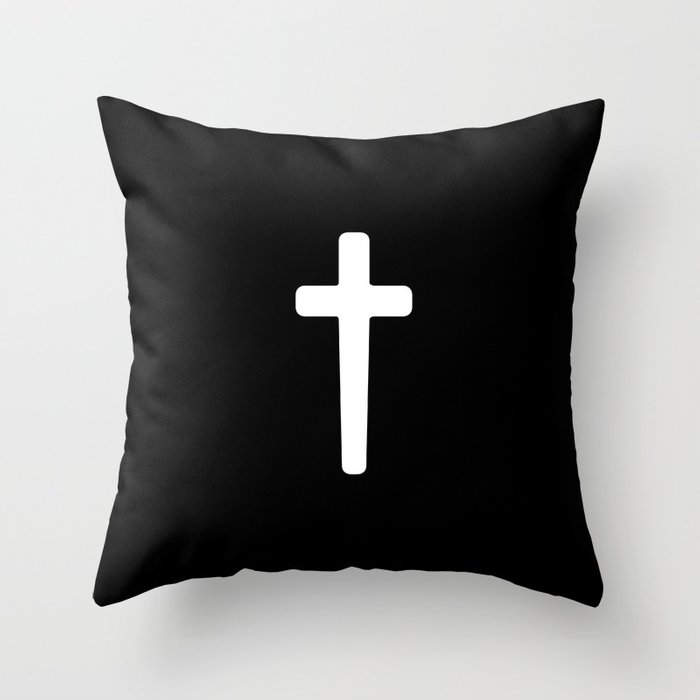 Cross - White Throw Pillow