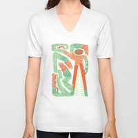 crocodile V-neck T-shirts featuring Crocodile by Natalie Young