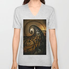 Spiral staircase with ornamented handrail Unisex V-Neck