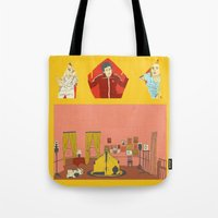 tenenbaums Tote Bags featuring The Royal Tenenbaums by Pan and Scan
