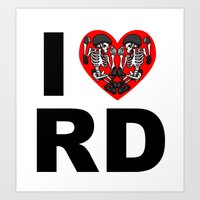 roller derby Art Prints featuring I heart roller derby by Andrew Mark Hunter
