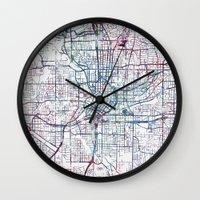 atlanta Wall Clocks featuring Atlanta map by MapMapMaps.Watercolors