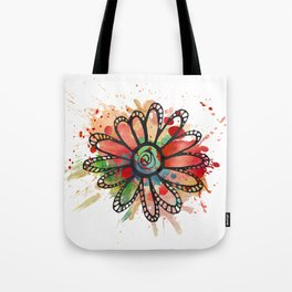 GC031-12 Colorful watercolor doodle flower red and green Tote Bag