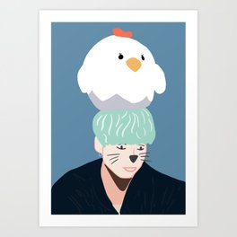 BTS Cat Yoongi with whiskers Art Print