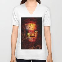 zombie V-neck T-shirts featuring Zombie by Joe Ganech