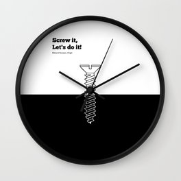Lab No. 4 - Screw It Lets Do It Richard Branson Corporate Startup Quotes Poster Wall Clock
