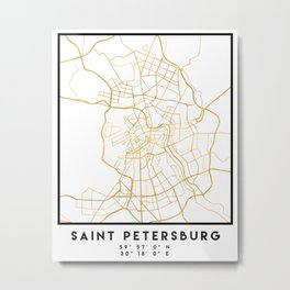 SAINT PETERSBURG CITY STREET MAP ART Metal Print