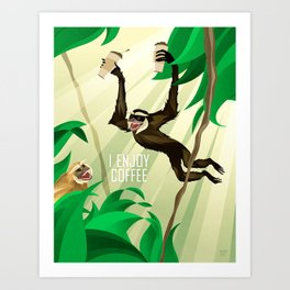 Gibbons Enjoy Coffee Art Print
