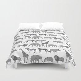 Safari animals minimal grey and white zebra giraffe cheetah hippo rhino nursery Duvet Cover