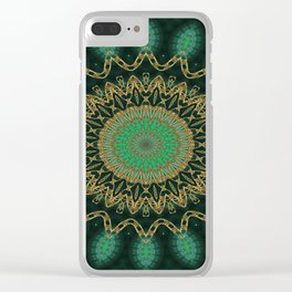 Golden Mandala (green) Clear iPhone Case