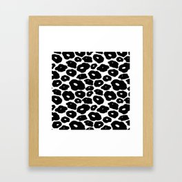 Abstract hand painted black white leopard animal print Framed Art Print