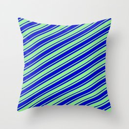 Light Green and Blue Colored Lined Pattern Throw Pillow