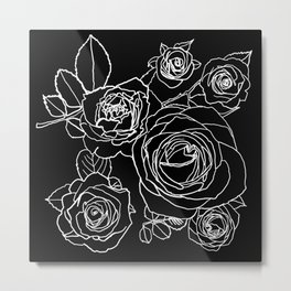 Feminine and Romantic Rose Pattern Line Work Illustration on Black Metal Print