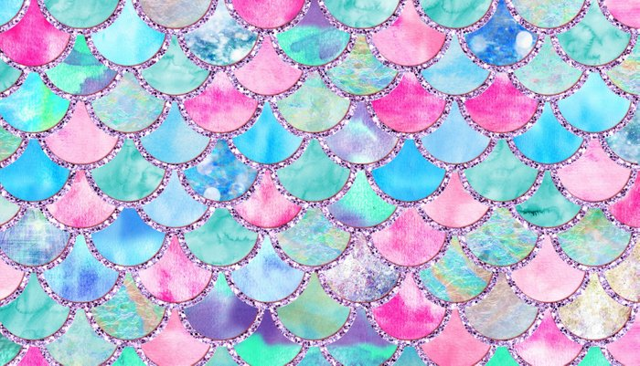 Colorful Pink and Blue Watercolor Trendy Glitter Mermaid Scales Pillow Sham