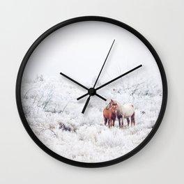 Two Winter Horses Wall Clock