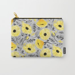 Butter Yellow Poppies on Pearl River Grey Carry-All Pouch