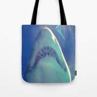 jaws Tote Bags featuring Jaws by Bunhugger Design