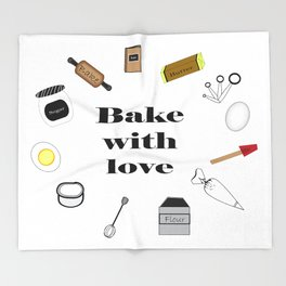 Bake with love Throw Blanket