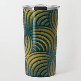 Teal Leather and Gold Circulate Wave Pattern Travel Mug