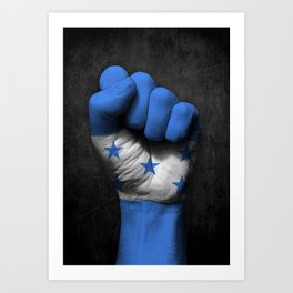 Honduran Flag on a Raised Clenched Fist Art Print