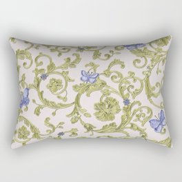Butterfly Leaf Baroque Floral Rectangular Pillow