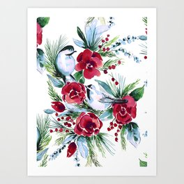 Winter Birds White Art Print