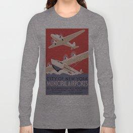 Vintage poster - New York Municipal Airports Long Sleeve T-shirt