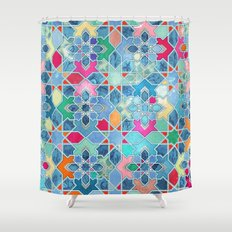 Pretty Pastel Moroccan Tile Mosaic Pattern Shower Curtain